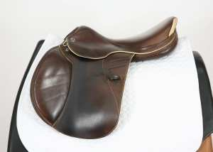 Left Side of Prestige X-Paris D 17 35 Jump Saddle SN: 07461114