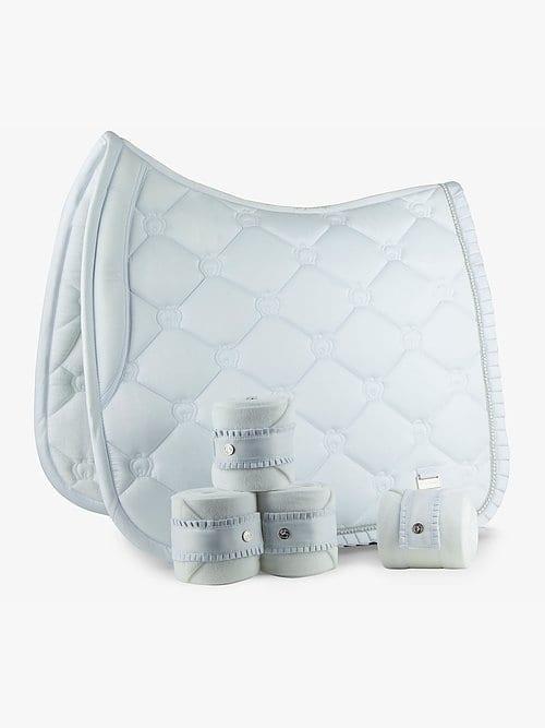White ruffle saddle pad dressage