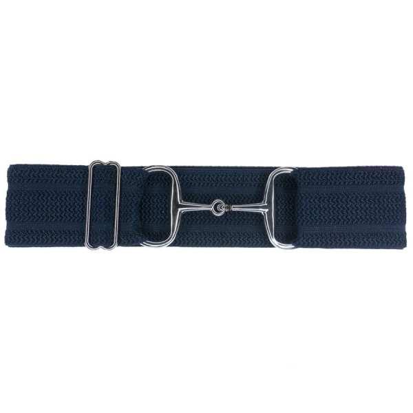 Navy herringbone silver snaffle bit belt