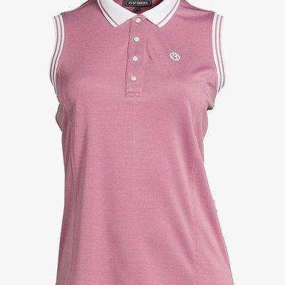 pink ladies sleeveless polo shirt