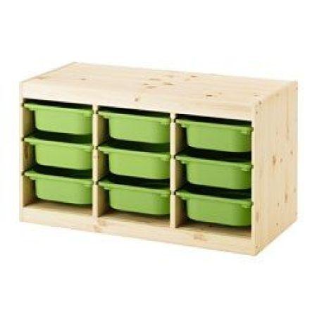bac de rangement vert et bois