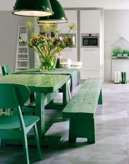 table et bancs couleur verte