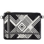 Milaluna Black Leather White Geo Pouch With Chain Strap