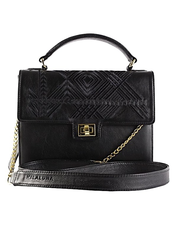 Milaluna Black Leather Black Geo Handle bag With Chain Strap_Back