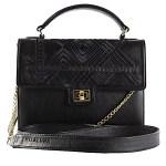 Milaluna Black Leather Black Geo Handle bag with leather strap