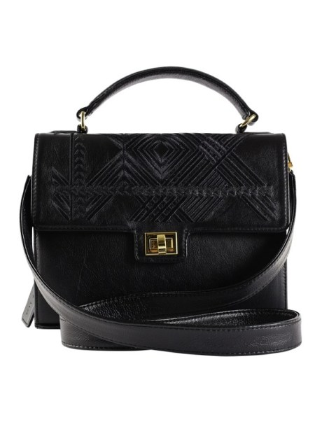 Black geo bag with leather bag