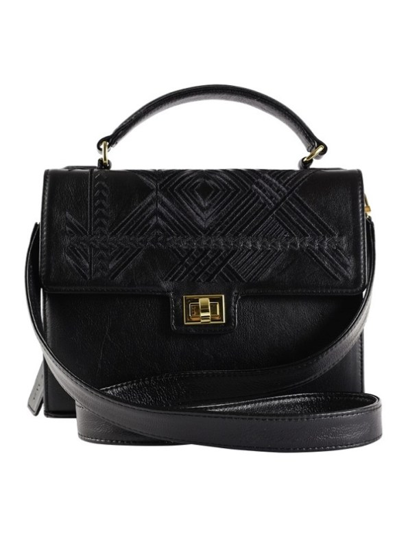 Milaluna Black Leather Black Geo Handle bag with leather strap