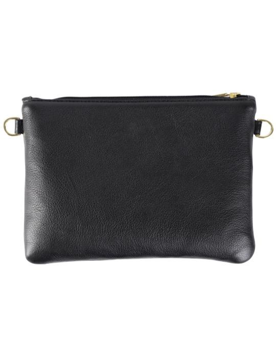 Milaluna Black Leather Pouch Bag – Back