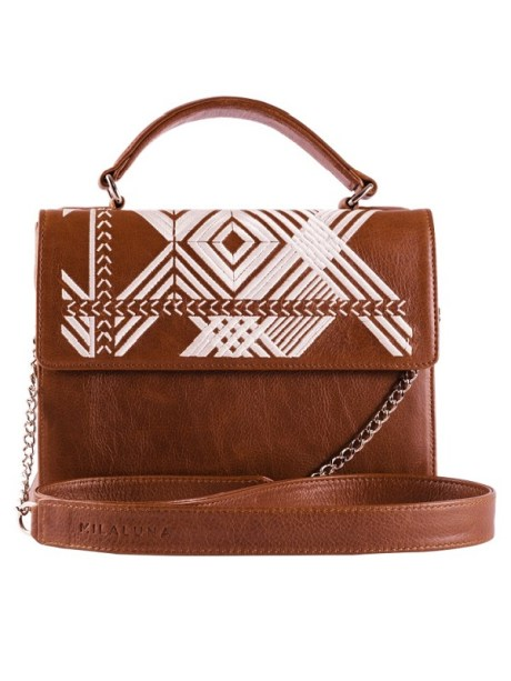 Brown Leather White Geo Handle Bag with Chain Strap