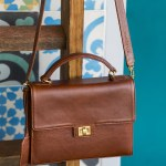 Milaluna Brown Leather Handle bag With Leather Strap
