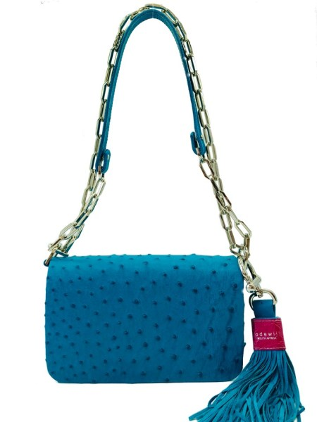 Turqoise blue ostrich leather bag made in South Africa