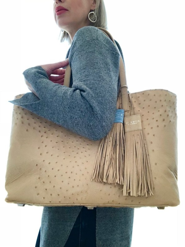 Wheat Tote on shoulder