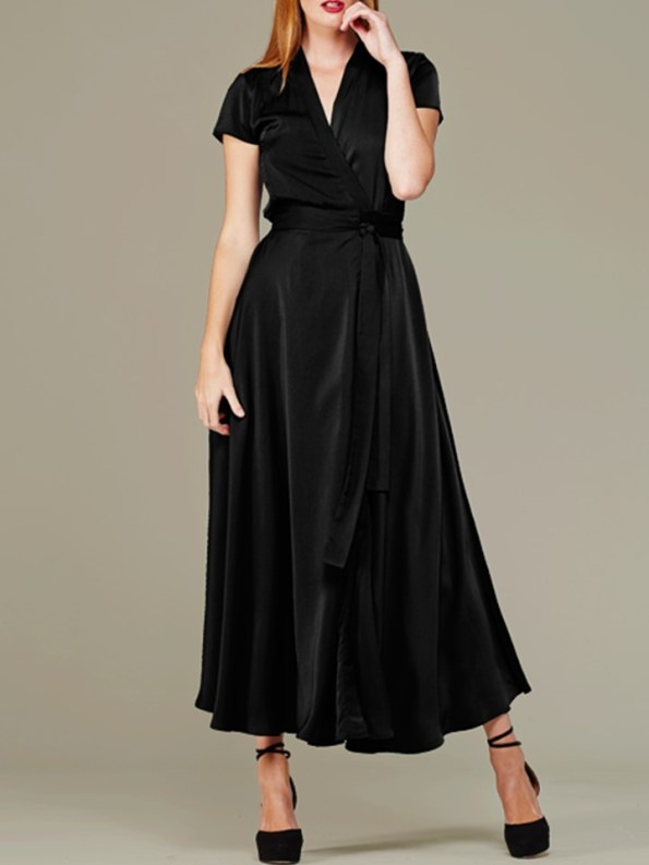Mareth Colleen Philly Wrap Dress Black Front