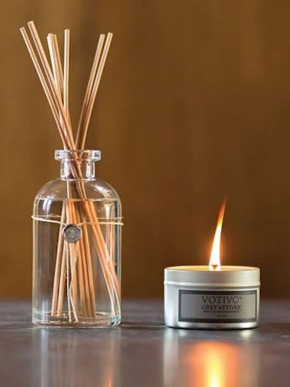 Votivo Aromatic Grey Vetiver Reed Diffuser & Travel Candle