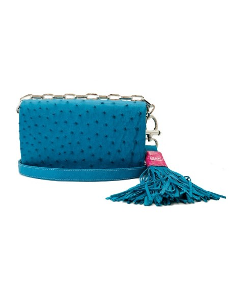 Turquoise blue ostrich leather handbag