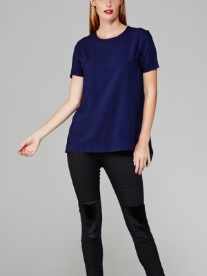 Mareth Colleen May top in navy on model