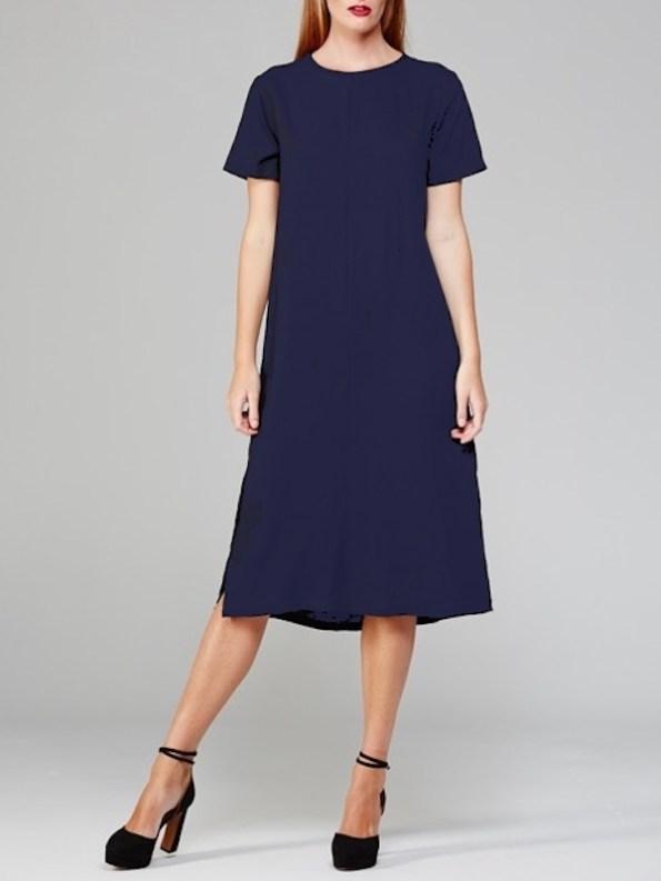 Harper Dress Navy Front Modeled