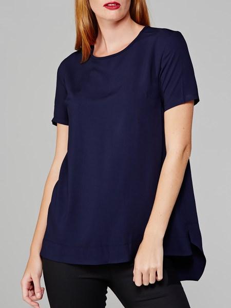 Long length T-shirt navy womens South Africa