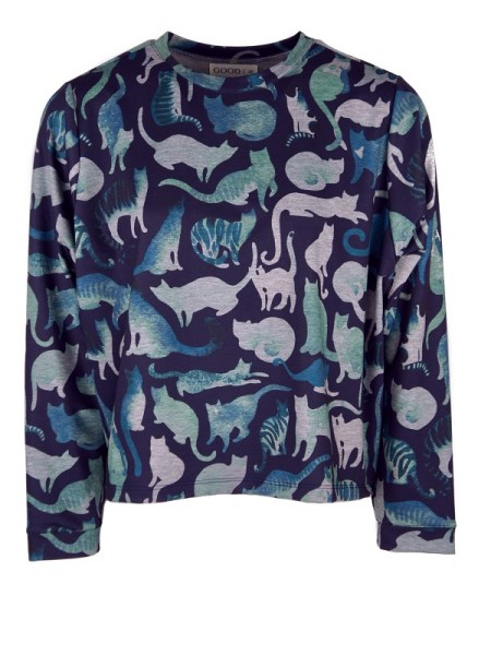 Good Clothing Olive Sweater Blue Cats