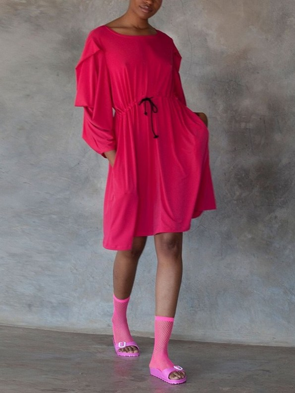 Erre Just Sleeve It Drawstring Dress Pink Front