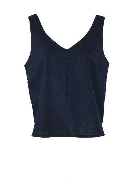 Good Classic Cami Navy Linen Shopfront