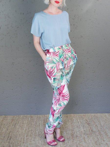 JMVB Bleuet Top and Floral Jogger Pants