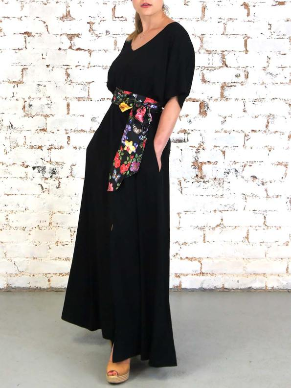 JMVB Bordeaux Dress Black Floral Pocket