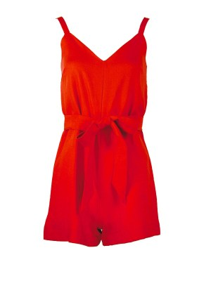 Strappy Playsuit Red Linen Shopfront