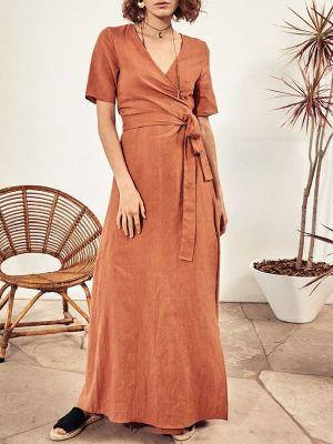 Terracotta Brown linen wrap dress South Africa