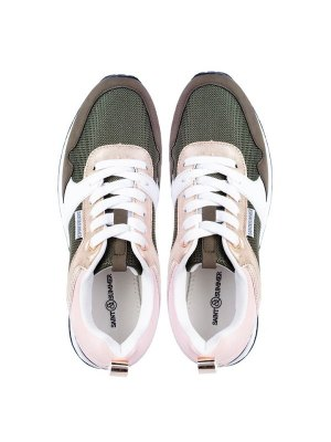 green, pink and gold retro sneakers