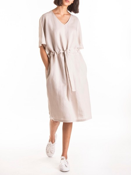 Smudj Julian Dress Bone Front