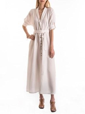 Smudj Lennie Dress White Linen Front