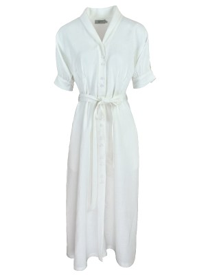 Smudj Lennie Dress White Linen Shopfront