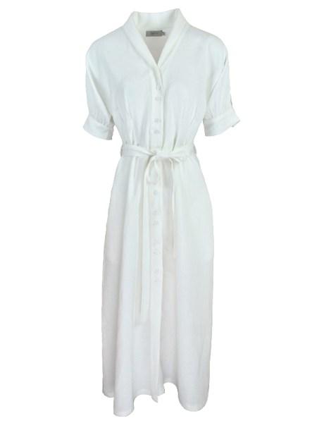 Smudj Lennie Dress White Linen Shopfront