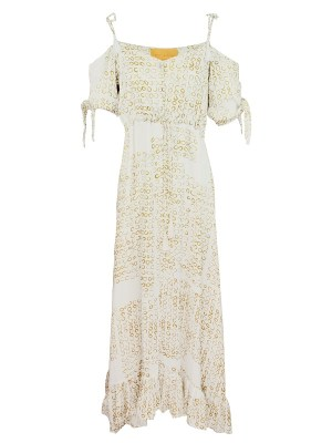 White off the shoulder dress with ties Made in South Africa