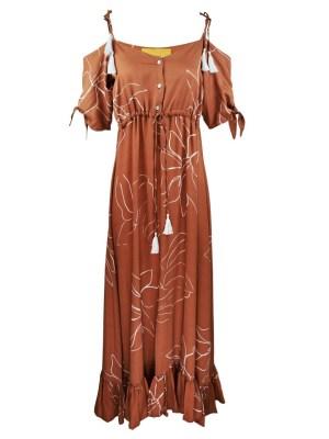 Off the shoulder dress in rust brown