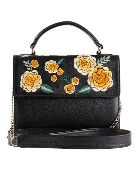 Milaluna Black Leather Gold Floral Handle Bag with Chain Strap