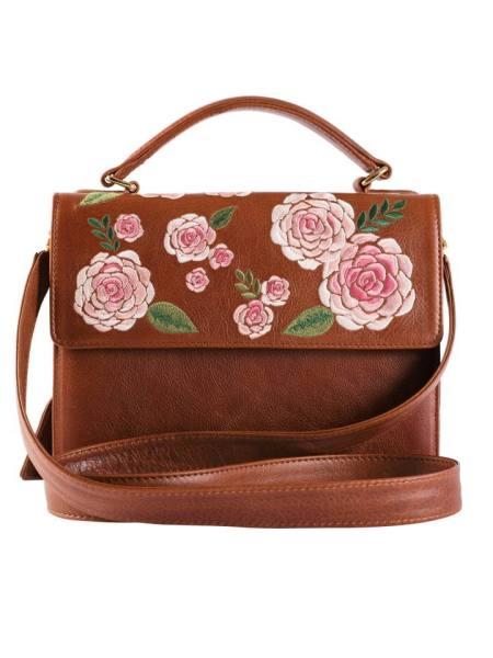 Milaluna Brown Leather Pink Floral Handle Bag Leather Strap