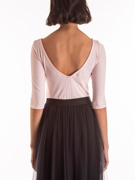 Smudj Ballet V-neck Top Soft Pink Back