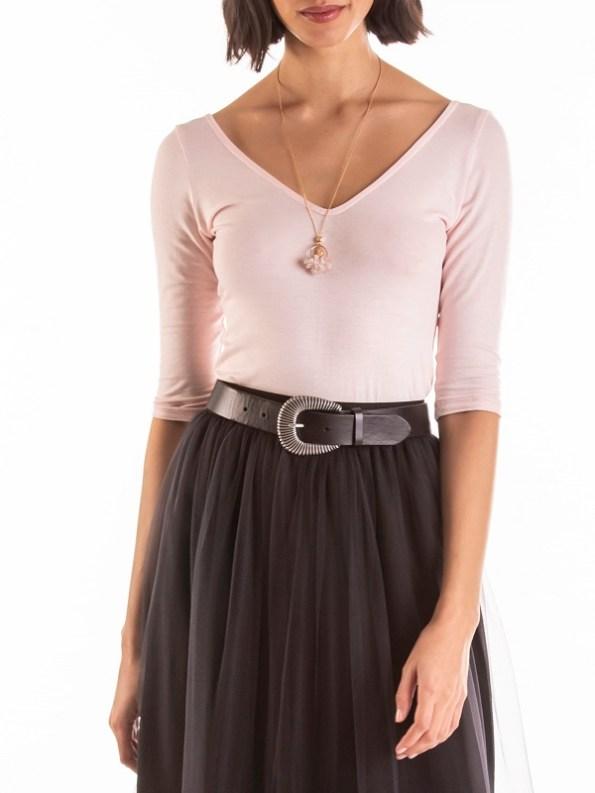 Smudj Ballet V-neck Top Soft Pink Cropped