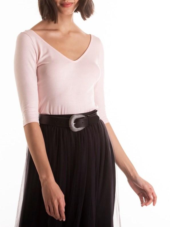Smudj Ballet V-neck Top Soft Pink Front