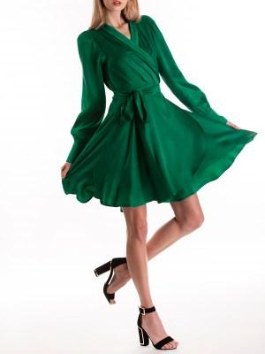 Green Wrap Mini Dress