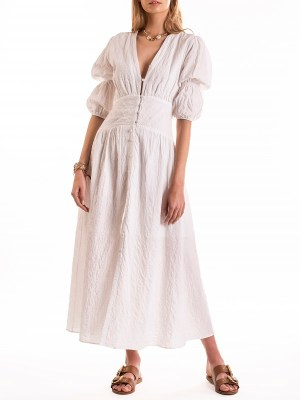 Smudj Wayfarer Dress White Seersucker Front