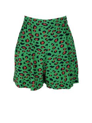 Green Leopard print Shorts