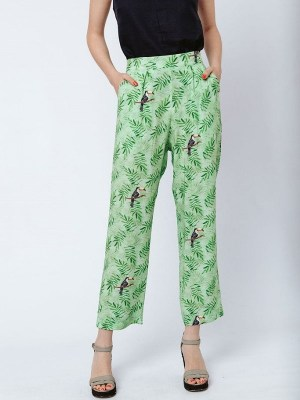 Green pants with birds on them