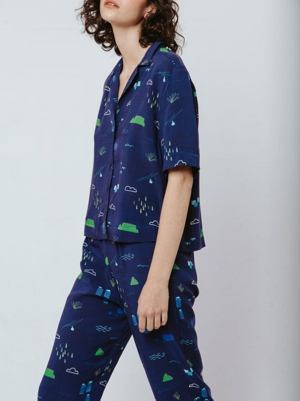 Good Clothing Summer Shirt and Kandy Pants Navy Cape Town Scene Cropped
