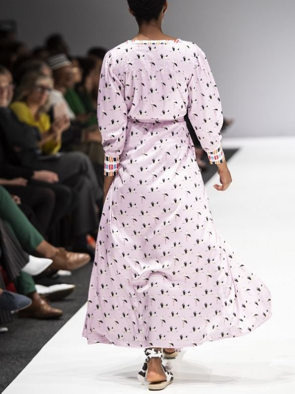 African Style Story Comporta Dress Pink Storks Back SAFW