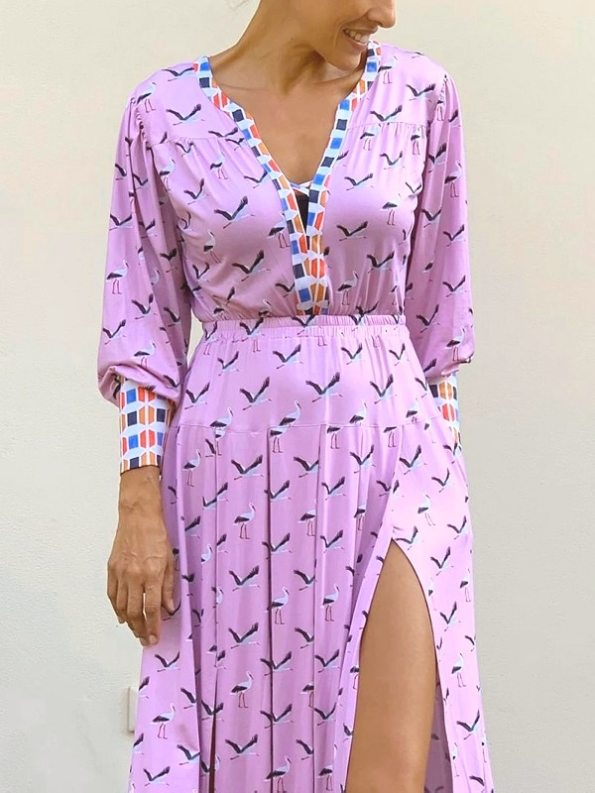 African Style Story Comporta Dress Pink Storks Cropped