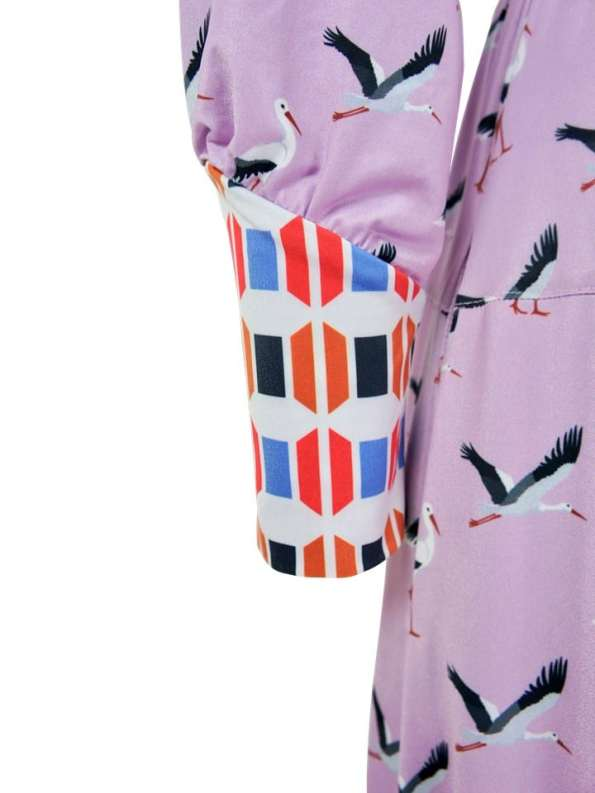 African Style Story Comporta Dress Pink Storks Cuff