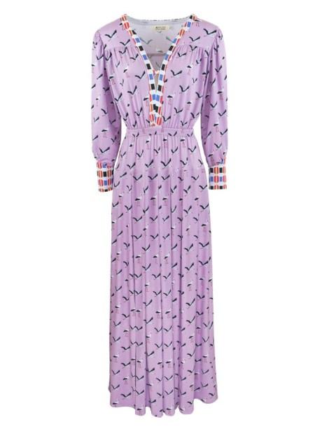 Purple pink maxi dress with birds